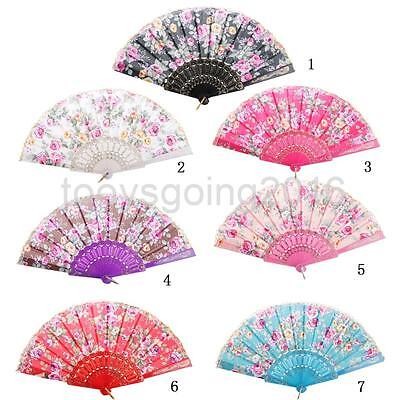 Chinese Folding Rose Flower Hand Fan Dance,Wedding Floral Design Party Gift