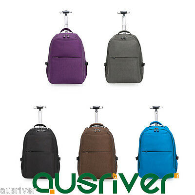 New 5Colours Unisex Wheeled Luggage Backpack Carry On Travel Bag Large Capacity
