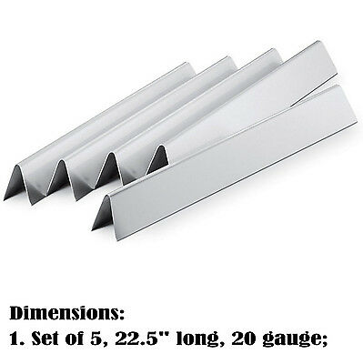 """Replacement 22.5"""" Stainless Steel Flavorizer for Weber Spirit & Genesis, 5 pack"""