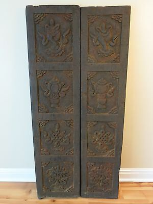 "56"" Tall Hand Carved Solid Wood Double Door Set Tibetan Auspicious Symbols Nepal"