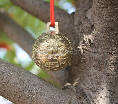 1Pcs Chinese style Buddhism carved lion head feng shui bell brass 51*41mm new