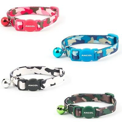 Ancol Multipack Camouflage Safety Release Cat Collar+Bell Black/pink/blue/green