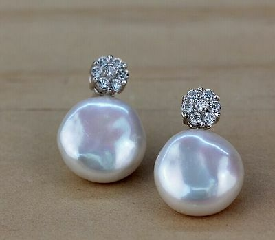 """MP""""Noble 12-13MM white coin pearl stud earrings  (natural shape )"""