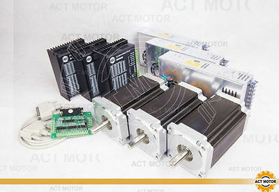 ACT MOTOR 3Axis Nema34 CNC Kit 34HS5460 6A 151mm 11N.m 4leads+Driver and power