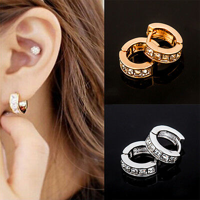 New Fashion Women Lady Elegant Gold Silver Crystal Rhinestone Ear Hoop Earrings