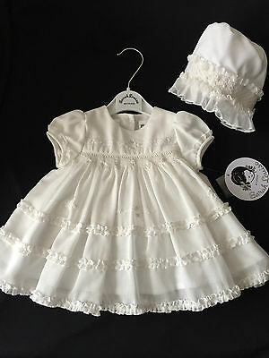 new baby girls designer sarah louise christening-party dress & bonnet white-ivor