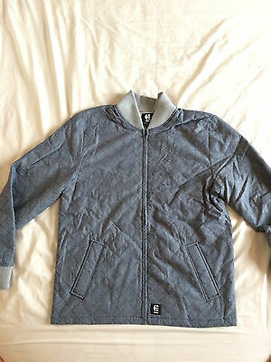 Mens Etnies JAMESON Bomber skate Jacket Large Blue/Grey -  SALE PRICE