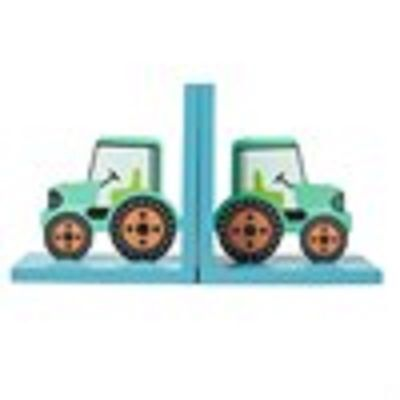 Bookends green farm tractor decoration childrens bedroom book ends Sass & Belle