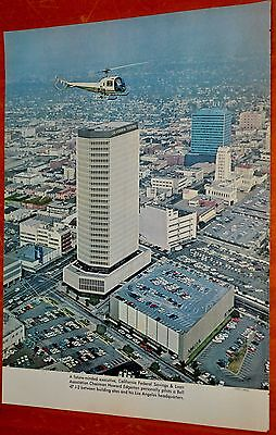 1966 Photo Bell 47 J-2 Helicopter Piloted By Los Angelas Bank Chairman Downtown