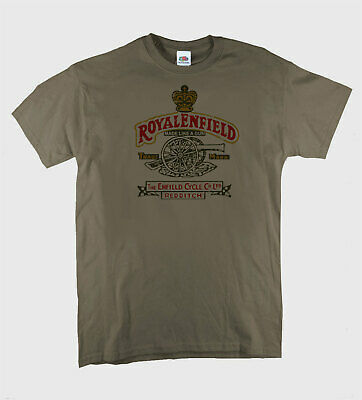 Royal Enfield Gun Retro Print British Biker Motorcycle Vintage  Putty T-Shirt