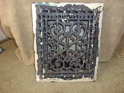 Vgt Ornate Wall Cast Iron 11 X 9 Heater Grate W / Tin Flap Register Vent Damper