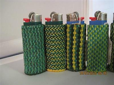 Hand Beaded Original Design Lighter Cases...Greens Collection..HANDMADE
