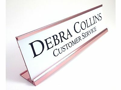 DESK NAME PLATE gloss white with gold color aluminum holder