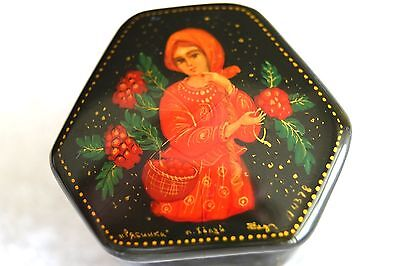 """Russian Black Lacquer Very Unique Shaped Box """"scarlet Flower"""""""