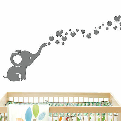 Elephant Bubbles Baby Wall Decal Vinyl Wall Nursery Room Decor EB2 - USA