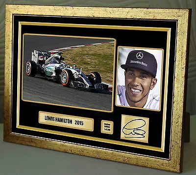 """Lewis Hamilton Mercedes F1 2015 Limited Edition Gold Framed  Signed """"Great Gift"""""""