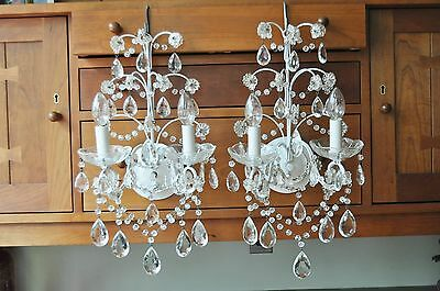 MATCHING PAIR of SHAB-B-SHEIK LIKE SCONCES HANDMADE ONE-OFF DRIPPING w CRYSTAL !