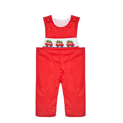 New Smocked Christmas longall  6m - 4T tree on car boy red jon jon boutique