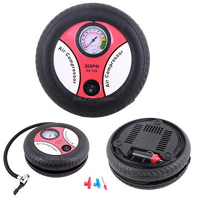 Portable Tyre Inflator Air Compressor Pump with Gauge4 Car/Van/Motorcycle/Bike