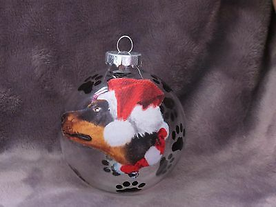 "Hand Made Doberman Pinscher 3"" Glass Christmas Ornament / Ball"