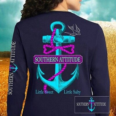 Country Life Southern Attitude Anchor Bow Girlie Long Sleeve Bright T Shirt