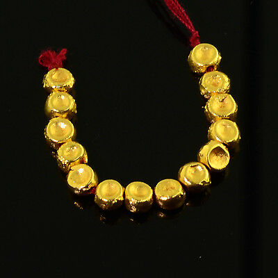 18k Solid Yellow Gold Dimpled Round 4.2mm Drum Spacer Beads 2 inch Strand