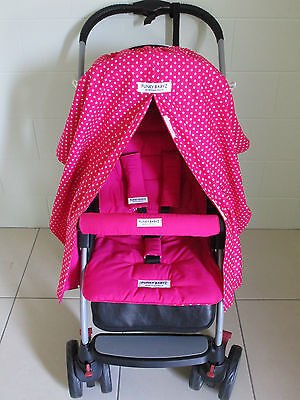 *PINK,STARS* sunshade/snooze curtain & *PINK* pram liner set-*universal fitting*
