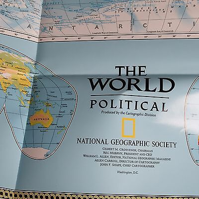 National Geographic  Poster The World Political MAP Large 30 x 42 1997