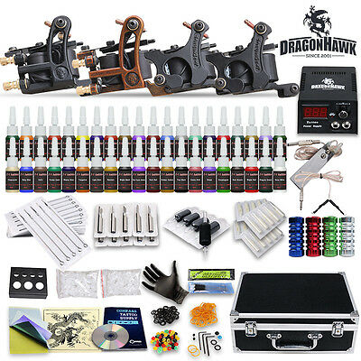 Complete Tattoo Kit 4 Machine Gun 40 Color Ink Power Supply Tip 50 Needle D139VD