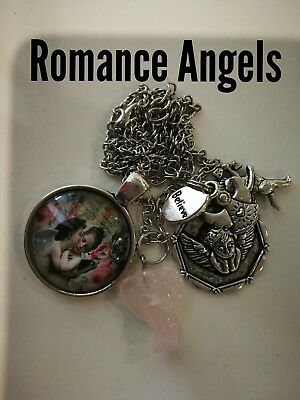 00103 ROMANCE ANGELS Rose Quartz  Archangel Ariel Infused Necklace Love Mother's