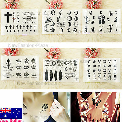 Brand New Fashion Temporary Tattoo Crosses/Fancy moon/Love Cat/Crown/Feather+