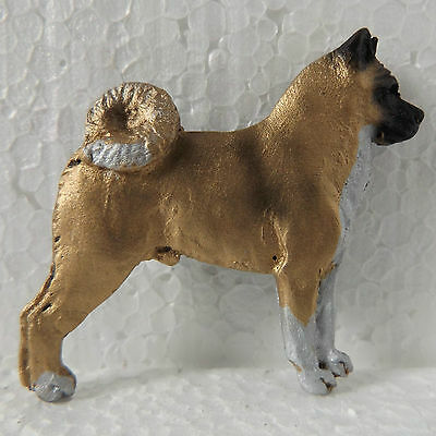 American Akita Brooch # 2 Fawn White Dog Breed Jewellery Handpainted Resin
