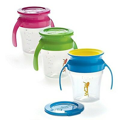 New WOW Baby Training Cup Handles Blue Pink Green No Spill Free Toddler Drinking