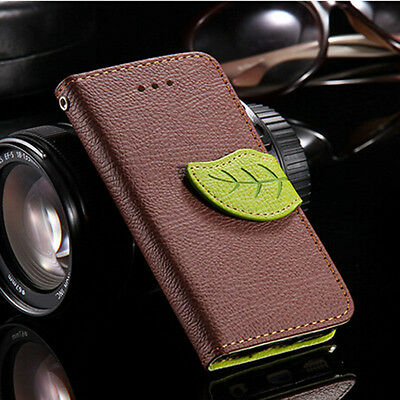 Leaf Magnetic Flip PU Leather Wallet Card Stand Case w/Strap For iPhone 4 5G 6 7