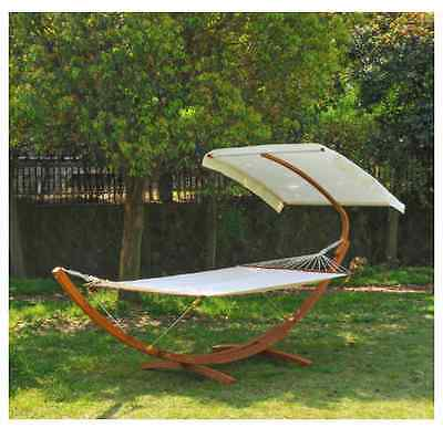 NEW Outsunny Garden Patio Wooden Double Hammock Swing Outdoor Swings Chairs Bed