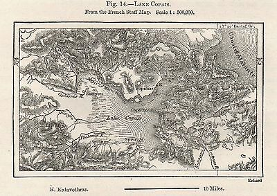Antique Map, Greece, Boeotia, Lake Copais, Kopaida, 1878