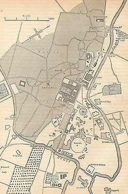 Antique Map/plan, India, Lucknow, Plan Of Lucknow 1857