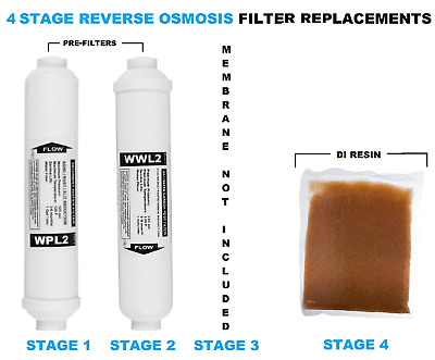 Pre Filters RO & 1L DI Resin Replacement for 4 Stage Reverse Osmosis 3PCS Aquati