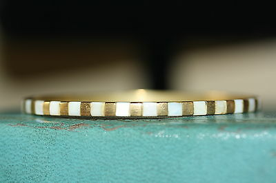 Bangle Bracelet with Faux Pearl Inlay on Gold Tone *PRETTY*