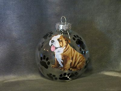"Hand Made Bulldog 3"" Glass Christmas Ornament / Ball"