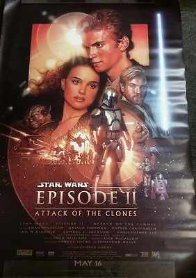 "STAR WARS EPISODE 2 ATTACK OF THE CLONES ORIGINAL MOVIE POSTER 63"" X 47"" Ver B"