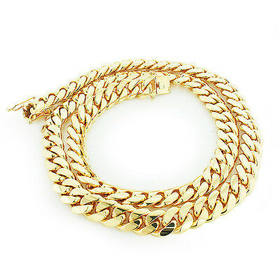 12MM Men's Solid 14k Yellow Gold Over 925 Silver Miami Cuban Curb Chain Necklace