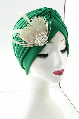 Green & Ivory Cream Pearl Feather Turban Headpiece Flapper 1920s Gatsby Hair 472
