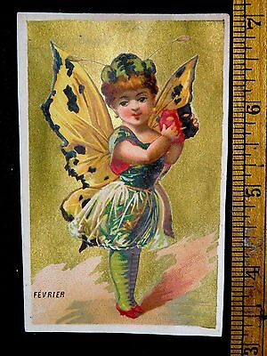 1870s-80s Wonderful Butterfly Winged Fairy Mask Cute Victorian Card F7