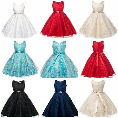 Flower Girls Bridesmaid Princess Special Occassion Prom Lace Dress UK SELLER
