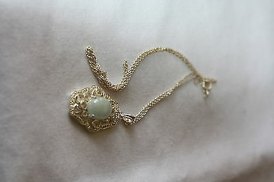 Silver Pendant and Chain with Opal-Look Stone