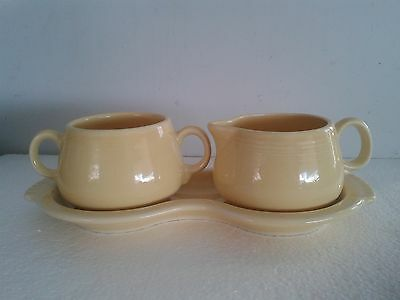 Vintage Fiesta Ware HL Yellow Creamer, Sugar Bowl on Figure 8 Tray, Excellent