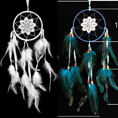 Car Mirror Wall Hanging Decor Lace Bead Feather Pearl Dream Catcher Ornaments