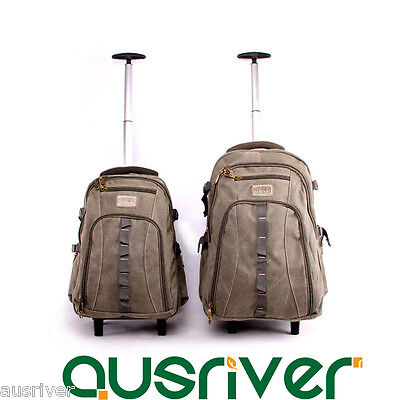 "18/22"" Luggage Backpack Carry On Travel Laptop Trolley Bag Wheels Large Capacity"
