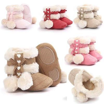 Toddler Girl Soft Sole Booties Baby Snow Boots Infant Prewalker Crib Shoes 0-18M